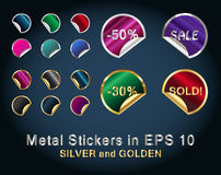 Set of Circle Metallic Stickers for business Stock Photography