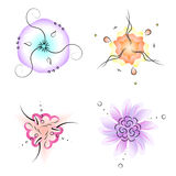 Set of circle ornamental flowers with three-fold symmetry, nice. For decoration, vector illustration Stock Photos
