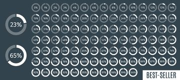Set of circle percentage diagrams from 0 to 100 for infographics, dark, 5 10 15 20 25 30 35 40 45 50 55 60 65 70 75 80. 85 90 95 percent. Vector illustration stock illustration