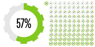 Set of circle percentage diagrams from 0 to 100 stock illustration