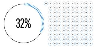Set of circle percentage diagrams from 0 to 100. Ready-to-use for web design, user interface UI or infographic - indicator with blue Stock Photography