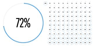 Set of circle percentage diagrams from 0 to 100. Ready-to-use for web design, user interface UI or infographic - indicator with blue Royalty Free Stock Photo
