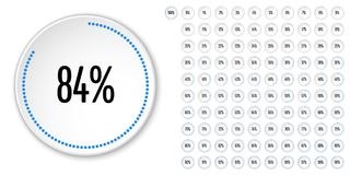 Set of circle percentage diagrams from 0 to 100. Ready-to-use for web design, user interface UI or infographic - indicator with blue Royalty Free Stock Photography