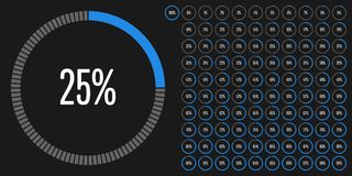 Set of circle percentage diagrams from 0 to 100. Ready-to-use for web design, user interface UI or infographic - indicator with blue Royalty Free Stock Image