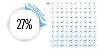 Set of circle percentage diagrams from 0 to 100. Ready-to-use for web design, user interface UI or infographic - indicator with blue Stock Photos