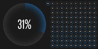 Set of circle percentage diagrams from 0 to 100 Stock Images