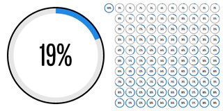 Set of circle percentage diagrams from 0 to 100 Royalty Free Stock Images