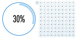 Set of circle percentage diagrams from 0 to 100 Royalty Free Stock Image