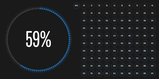 Set of circle percentage diagrams from 0 to 100. Ready-to-use for web design, user interface UI or infographic - indicator with blue Royalty Free Stock Photos
