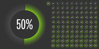 Set of circle percentage diagrams from 0 to 100 Royalty Free Stock Photography
