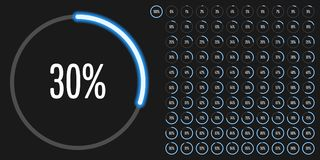 Set of circle percentage diagrams from 0 to 100. Ready-to-use for web design, user interface UI or infographic - indicator with neon blue Stock Photos