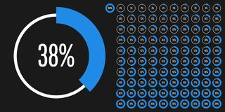 Set of circle percentage diagrams from 0 to 100. Ready-to-use for web design, user interface UI or infographic - indicator with blue Stock Photo