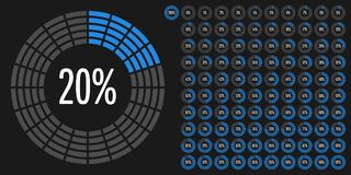 Set of circle percentage diagrams from 0 to 100. Ready-to-use for web design, user interface UI or infographic - indicator with blue Royalty Free Stock Images