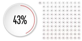 Set of circle percentage diagrams from 0 to 100 Royalty Free Stock Photo