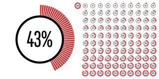 Set of circle percentage diagrams from 0 to 100 Stock Photos