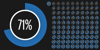 Set of circle percentage diagrams from 0 to 100. Ready-to-use for web design, user interface UI or infographic - indicator with blue Stock Image