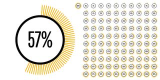 Set of circle percentage diagrams from 0 to 100. Ready-to-use for web design, user interface UI or infographic - indicator with yellow Stock Photography