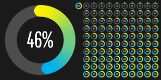 Set of circle percentage diagrams from 0 to 100. Ready-to-use for web design, user interface UI or infographic - indicator with gradient from yellow to cyan Stock Photography