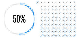 Set of circle percentage diagrams from 0 to 100 Stock Image