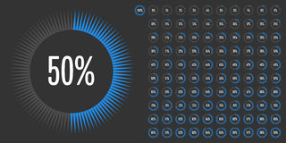 Set of circle percentage diagrams from 0 to 100 Stock Photography