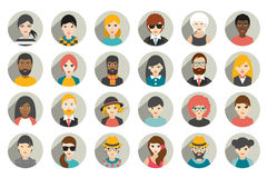 Set of circle persons, avatars, people heads  different nationality in flat style. Royalty Free Stock Images