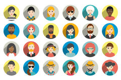 Set of circle persons, avatars, people heads  different nationality in flat style. Stock Photos