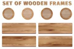 Set of circle and rectangular wooden frames Stock Photos