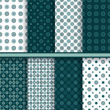 Set of circle round vector seamless patterns Royalty Free Stock Photos