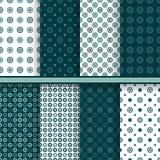 Set of circle round vector seamless patterns Royalty Free Stock Photos