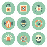 Set of Circle Security Icons. To a Limited Color Palette in Flat Style Royalty Free Stock Image