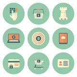 Set of Circle Security Icons Stock Photo