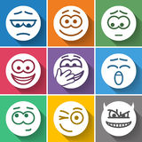 Set Circle Smiles. On Color Background Royalty Free Stock Image