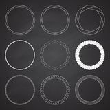Set of 9 circle summer frames, borders Stock Images
