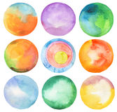 Set of circle watercolor. vector illustration