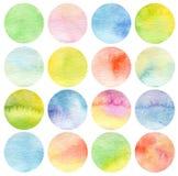 Set of circle watercolor. Royalty Free Stock Photos