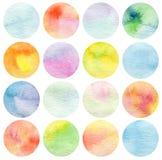 Set of circle watercolor. Royalty Free Stock Image