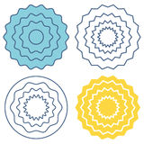Set circle wave pattern. Set circle wave pattern template. Blue, yellow and black waves. Graphic vector circle with waves vector illustration