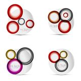 Set of circle web layouts - digital techno round shapes - web banners, buttons or icons with text. Glossy swirl color. Abstract circle designs, hi-tech Stock Photography