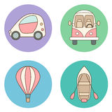 Set of circles with cartoon transport illustrations Royalty Free Stock Photo