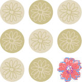 Set of circles with flowers same and last different Royalty Free Stock Image