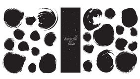 Set of 25 circles, made with hand and liquid ink, freehand, with lots of splashes and blob brush smears. Vector black and white is Stock Image