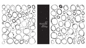 Set of 100 circles, made with hand and liquid ink, freehand, with lots of splashes and blob brush smears. Vector black and white i Royalty Free Stock Photography