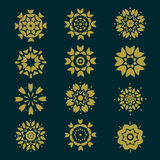 Set of circles pattern with leaf and floral concept isolate on background, vector & illustration Royalty Free Stock Photo