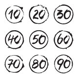 Set of Circles Stamps and Numbers. Vector Icons Stock Photo
