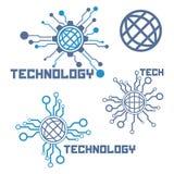 Set of circuit tech elements. Electronics icon. Tech logo Stock Photos