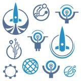 Tech logo. Rocket icon. Set of circuit tech elements. Electronics icon. Tech logo. Rocket icon royalty free illustration