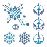 Tech logo. Rocket icon. Set of circuit tech elements. Electronics icon. Tech logo. Rocket icon Stock Image