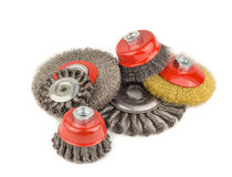 Set Circular brush metal. Set circular wire brush on workbench close up Stock Image
