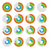 Set of Circular Colored Progress Diagram. Vector Royalty Free Stock Photography