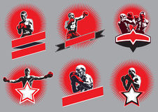 Set of circular combative sport icons or emblems. Set of six different vector combative sport icons or emblems showing a single boxer fighting, two boxers Royalty Free Stock Image